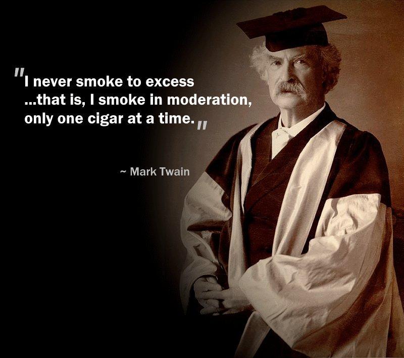 «Δεν καπνίζω ποτέ από υπερβολή αλλά μετριοπαθώς από μέτρο το πούρο κάθε φορά»